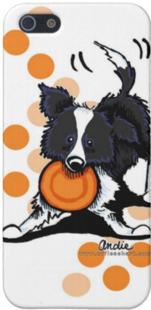 Border collie playing cartoon phone case