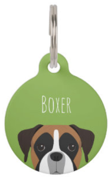 Boxer dog pet ID tag