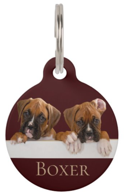 Boxer puppies pet ID tag