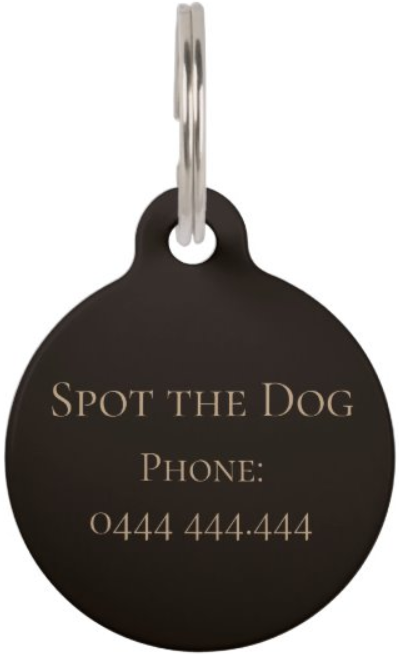 Customized pet tag - back