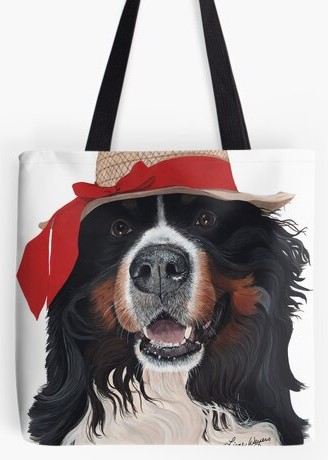 Bernese Mountain Dog with hat tote bag