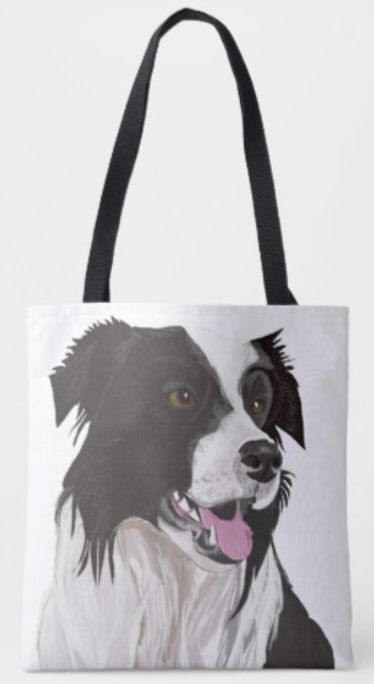 Border collie cartoon tote