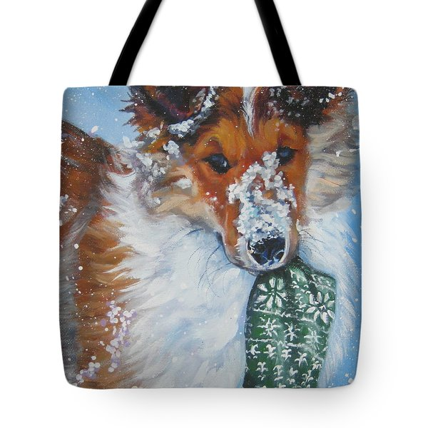 Collie Puppy with a Xmas stocking by Lee Ann Shepard