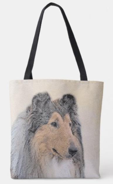 Rough Collie pastel drawing tote bag