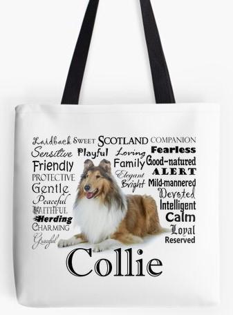 Rough Collie tote bag
