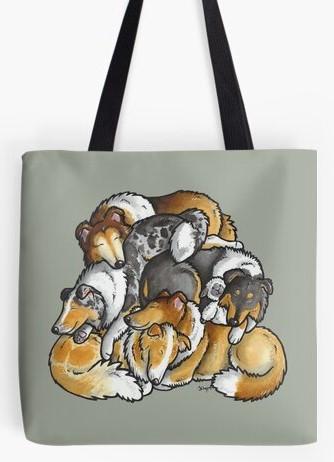 Rough Collies tote bag