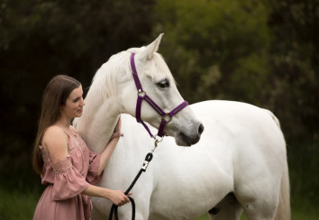 White horse and his owner