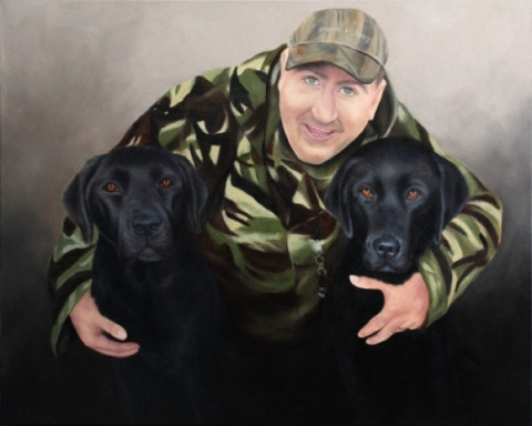 """Mat, with Charley & Zulu"" the black labradors. Oils on Canvas, 24x30in."