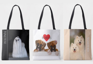 Dog breed tote bags