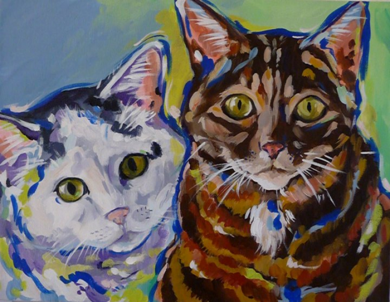 Cat Portraits from Susie Carmichael of Lazy Dog Art