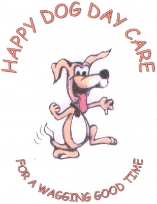 "HAPPY DOG DAY CARE    ""for a wagging good time"""